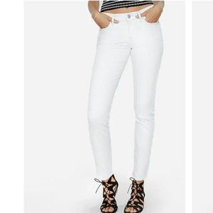 Express White Mid Rise Skinny Ankle Jeans Sz 10